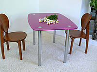 """Стол обеденный стеклянный на хромированных ножках Maxi DT DX 1060/800 """"лиловый"""" стекло, хром, фото 1"""