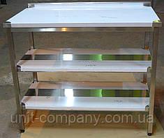 Стіл виробничий з нержавіючої сталі з двома полками