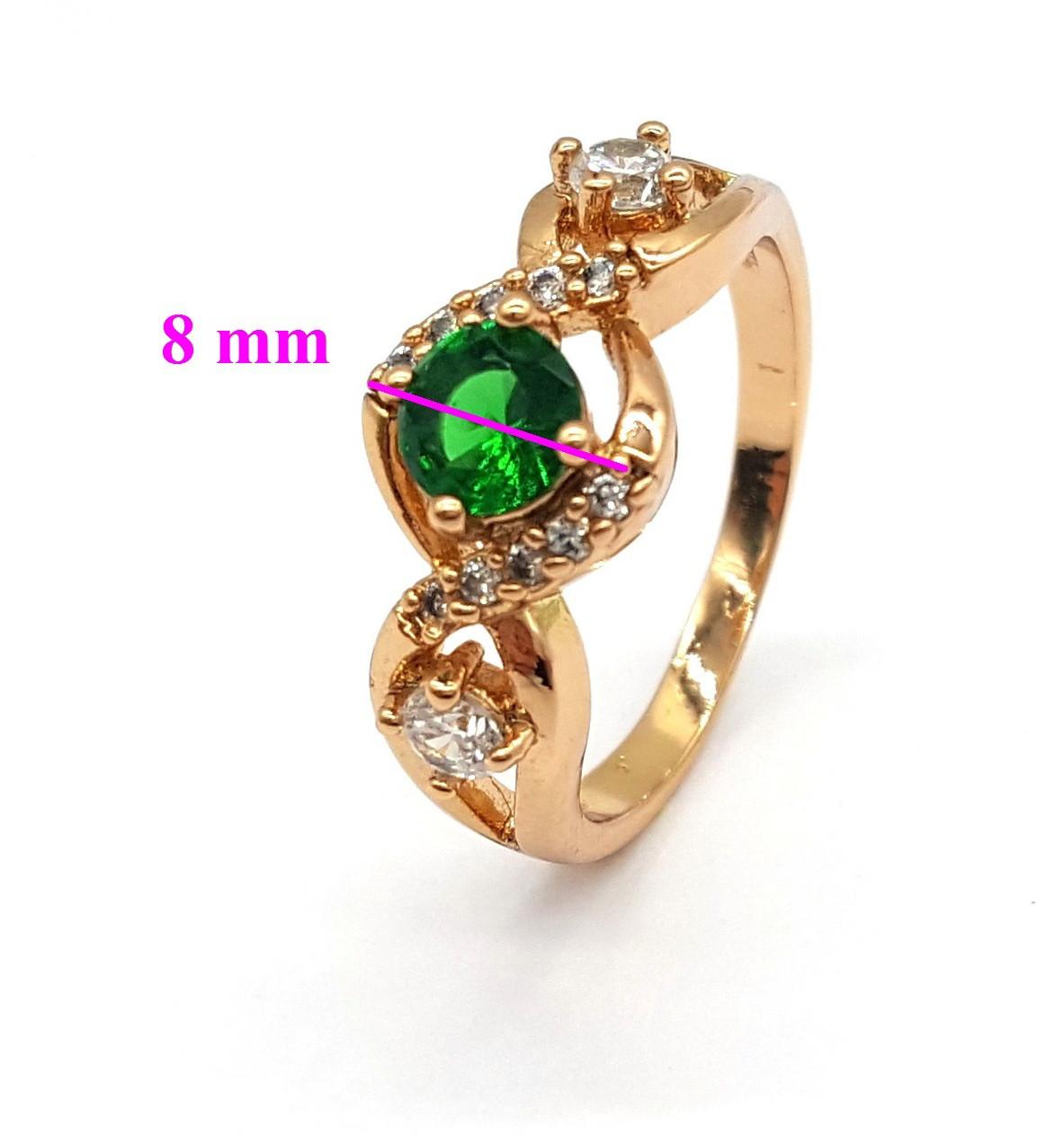 Кольцо позолоченное, с зеленым цирконием, р.16,5