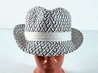 Соломенная шляпа Бевьер 28 см бело-синяя