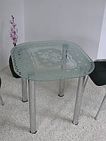 """Стол обеденный стеклянный на хромированных ножках Maxi DT DXX 800/750 """"весна"""" стекло, хром, фото 1"""