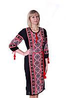 Женская вышиванка платье модель Ukrainian Trikotage 52 Черная (568)