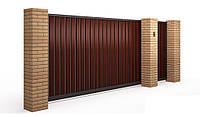 Зсувні відкатні ворота на отвір 4000х2000 з зашиттям профнастилом