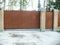 Хвіртка окремостояча на отвір 1000х2000 з зашиттям профнастилом, фото 1
