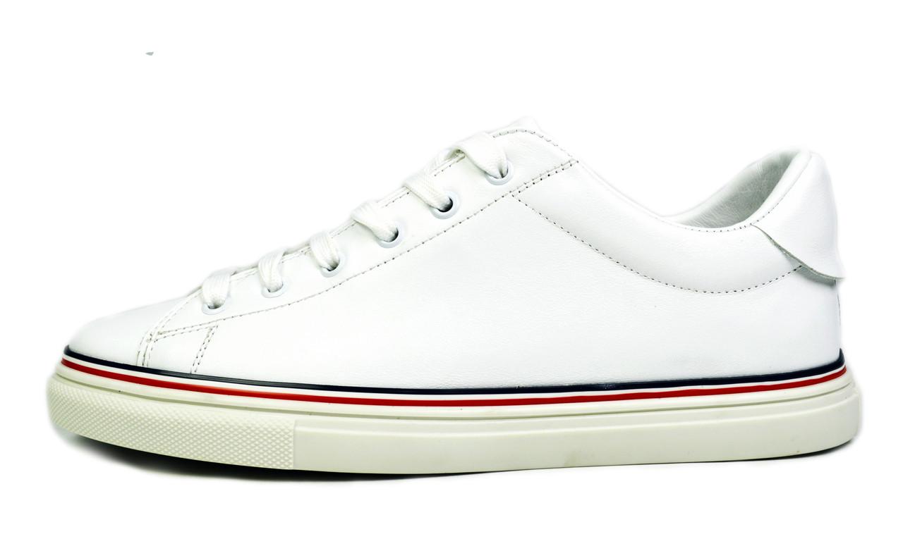 Белые мужские кожаные кроссовки комфорт VLAD XL