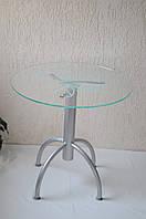 """Стол обеденный стеклянный на хромированных ножках Maxi DT KN 900 """"цветок"""" стекло, хром, фото 1"""