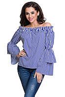 Блуза летняя в полоску с открытыми плечами