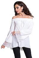 Блуза летняя с кружевом белая