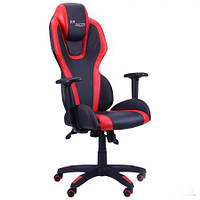 Кресло компьютерное VR Racer Atom черный, PU черный/красный