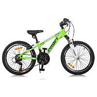 "Велосипед 20 д. G20A315-L-2B алюм.рама 10"", Shimano 21SP, алюм. VB, двойной обод, зелено-голуб."