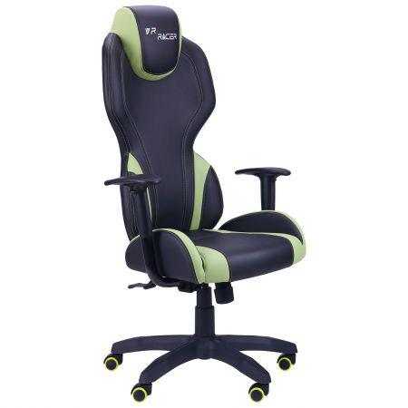 Кресло компьютерное VR Racer Zeus черный, PU черный/зеленый, TM AMF