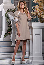 Красивое платье средней длины свободное с поясом кружева светлый кофе, фото 3