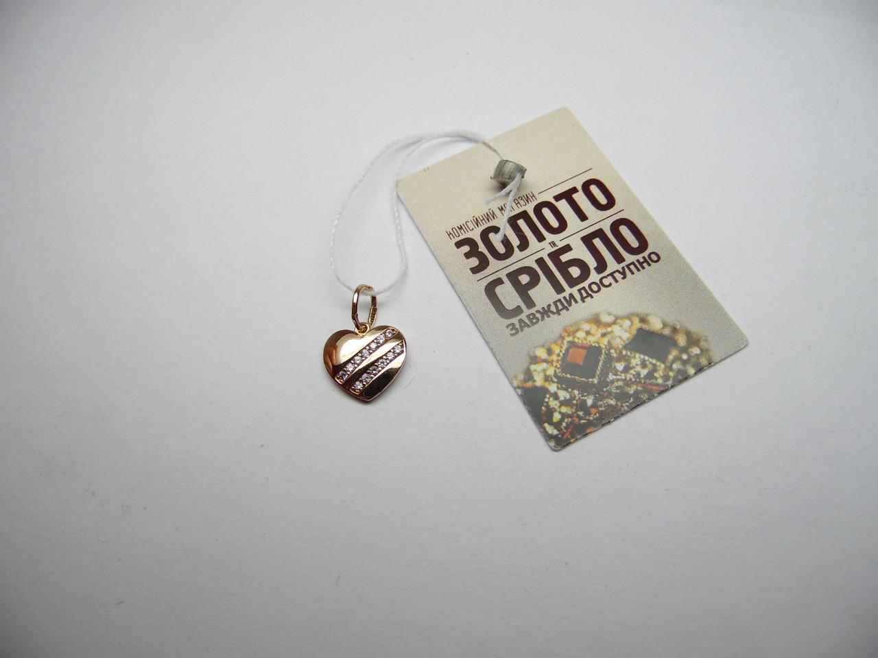 Золотая подвеска в форме сердца, вес 1 г.