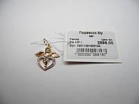 Золотая подвеска в форме сердца, вес 2,57 г.