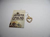 Золотая подвеска в форме сердца, вес 1,09 г., фото 1