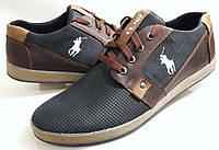 Мужские Осень-Весна Кожаные туфли  кроссовки кеды U.S.Polo black перфорация Польша, фото 1