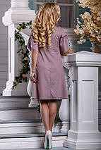 Летнее платье с кружевами свободного кроя миди рукав короткий розово коричневое, фото 3
