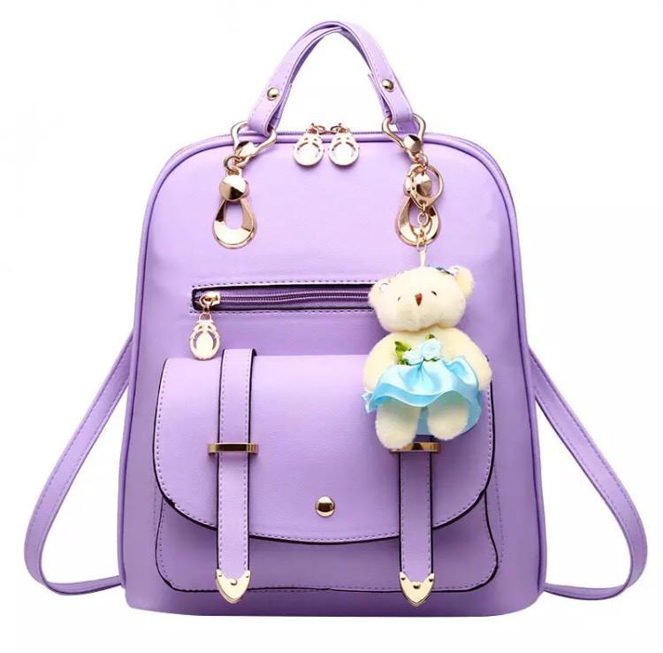 Женский рюкзак Винтаж с мишкой Тедди,Candy Bear Сиреневый
