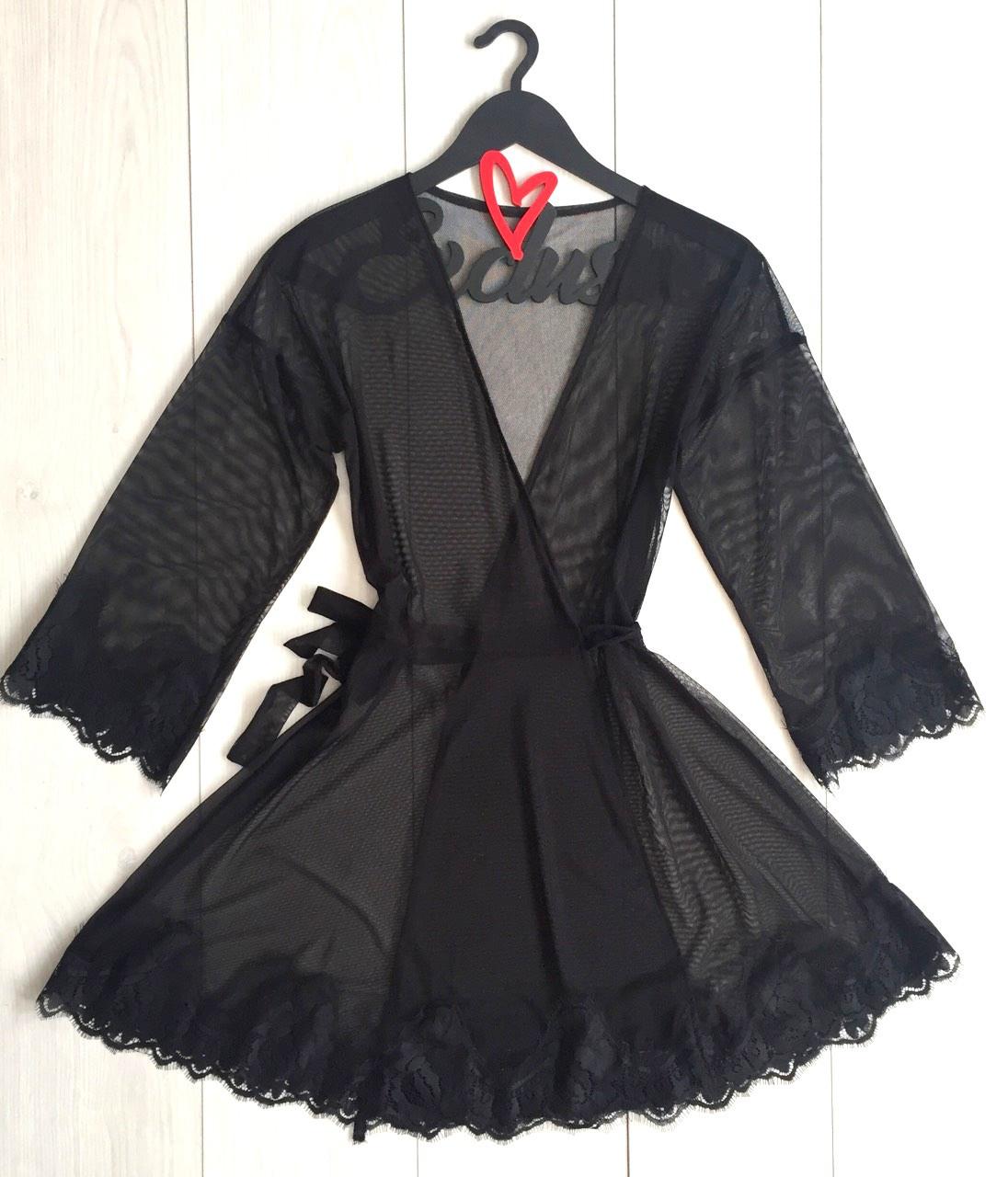 Черный прозрачный халат Exclusive