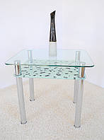 "Стол кухонный Maxi DT R 800/650 (2) ""коровка"" стекло, хром, фото 1"
