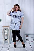 Женская блузка с цветочным принтом 0809 цвет голубой / размер 42-74