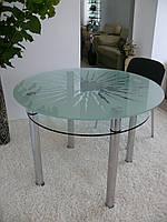 """Стол кухонный Maxi DT K 1060 (2) """"солнце"""" стекло, хром"""