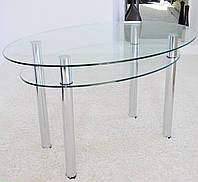 """Стол кухонный стеклянный на хромированных ножках Maxi DT O 1240/830 (2) """"прозрачный"""" стекло, хром, фото 1"""
