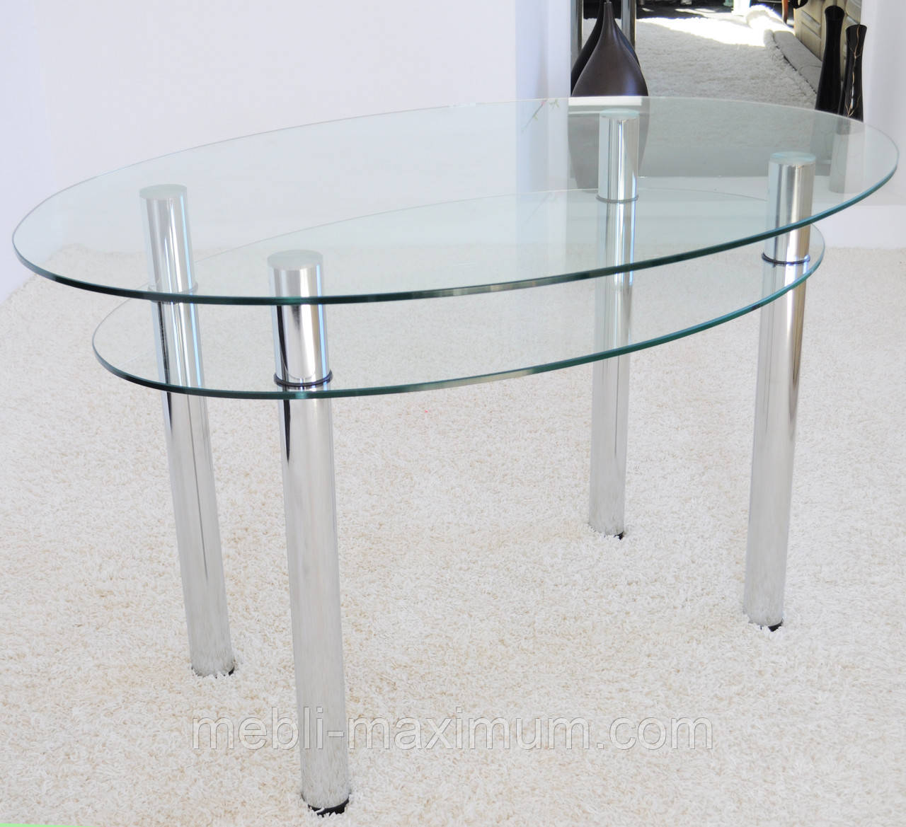 """Стол кухонный Maxi DT O 1240/830 (2) """"прозрачный"""" стекло, хром, фото 1"""