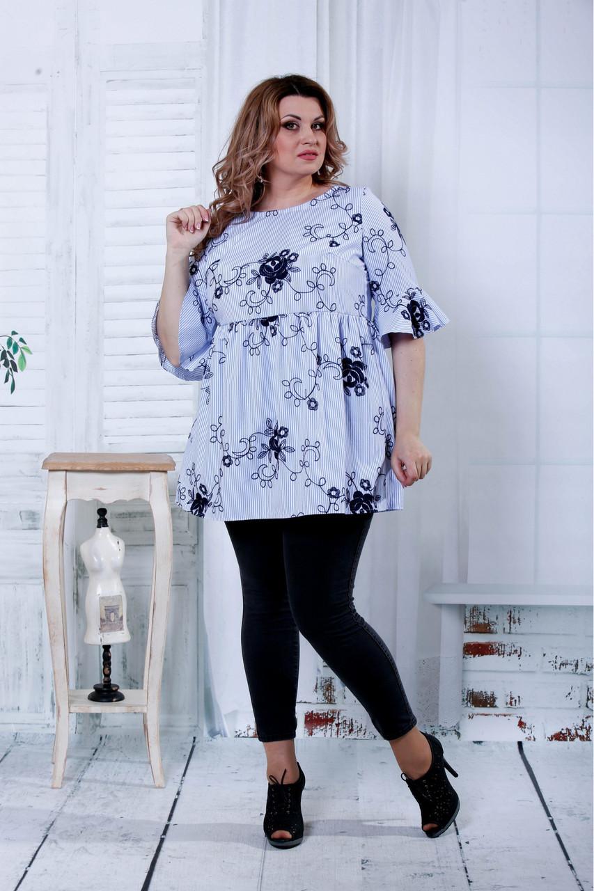 Женская расширенная блузка голубого цвета 0801 / размер 42-74