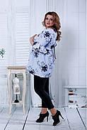 Женская расширенная блузка голубого цвета 0801 / размер 42-74, фото 2