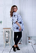 Женская расширенная блузка голубого цвета 0801 / размер 42-74, фото 3