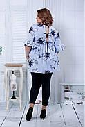 Женская расширенная блузка голубого цвета 0801 / размер 42-74, фото 4