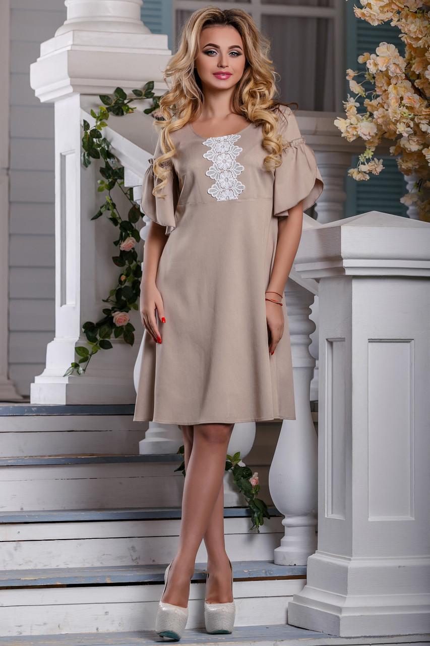 Стильное платье летнее свободное от груди с коротким рукавом кружева стрейч коттон светлый кофе