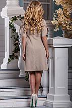Стильное платье летнее свободное от груди с коротким рукавом кружева стрейч коттон светлый кофе, фото 3