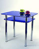 "Стол кухонный Maxi DT DX 900/800 (2) ""синий"" стекло, хром, фото 1"