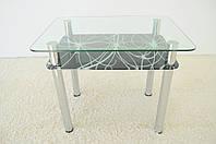"""Стол кухонный стеклянный на хромированных ножках Maxi DT R 900/650 (2) """"космос"""" стекло, хром, фото 1"""