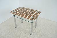 """Стол кухонный стеклянный на хромированных ножках Maxi DT R 900/600 (2) """"клетка"""" стекло, хром, фото 1"""