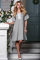 Летнее платье с кружевами свободное средней длины коттон светло серое