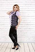 Женская блузка блуза из шелка с гипюром 0786 / размер 42-74 / цвет Сиреневый, фото 2