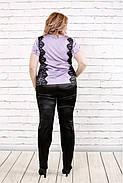 Женская блузка блуза из шелка с гипюром 0786 / размер 42-74 / цвет Сиреневый, фото 4