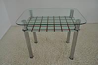 """Стол кухонный стеклянный на хромированных ножках Maxi DT R 900/600 (2) """"кубик"""" стекло, хром"""