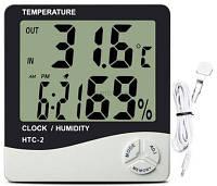 Гигрометр HTC-2 термометр часы будильник