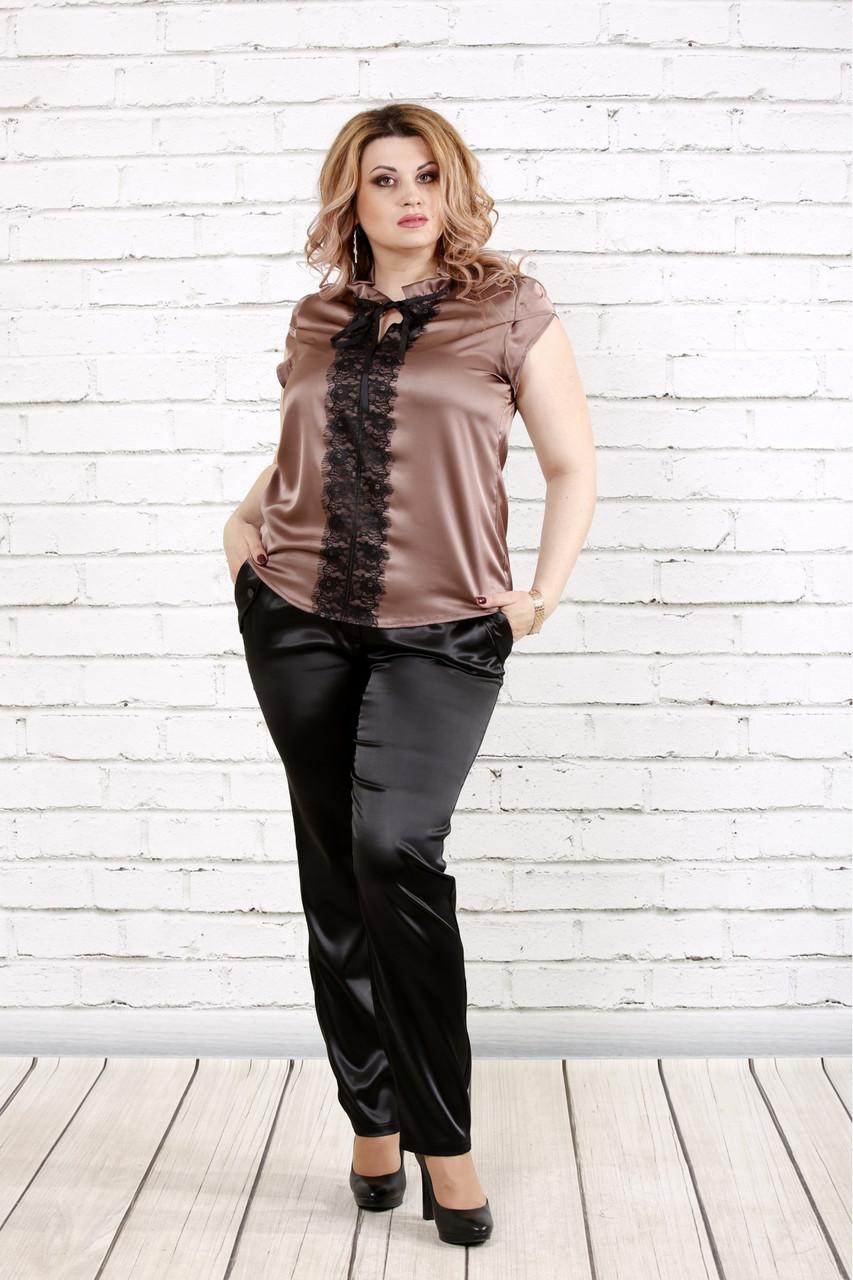 0fcd2b6471a Женская нарядная блузка из шелка с кружевом 0785   размер 42-74   цвет  кофейный