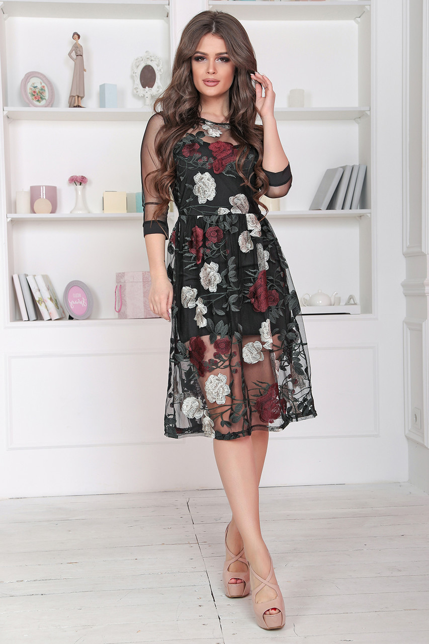 Нарядное цветочное Платье в черном цвете