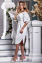 Летнее платье миди свободного кроя под пояс белое, фото 3