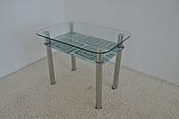 """Стол кухонный стеклянный на хромированных ножках Maxi DT R 900/600 (2) """"лабиринт"""" стекло, хром, фото 1"""