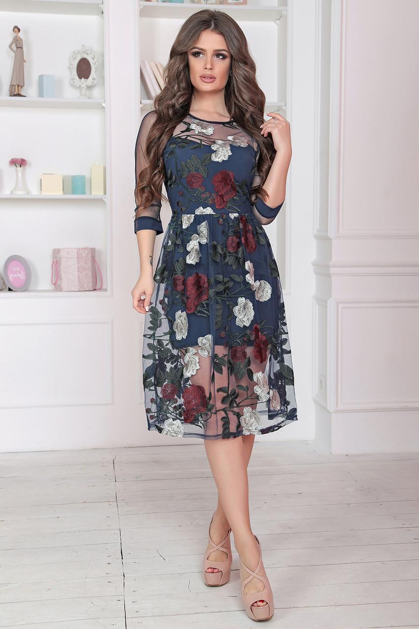 Нарядное цветочное Платье в темно-синем цвете