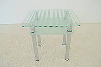 """Стол кухонный стеклянный на хромированных ножках Maxi DT R 730/650 (2) """"полоска"""" стекло, хром, фото 1"""