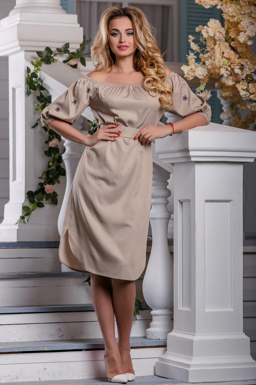 Нарядное платье до колен с поясом прямого кроя светлый кофе