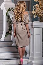 Нарядное платье до колен с поясом прямого кроя светлый кофе, фото 2